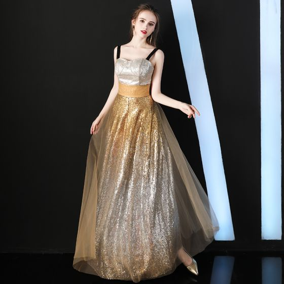 Sparkly Champagne Gradient-Color Gold Prom Dresses 2017 A-Line / Princess Sequins Spaghetti Straps Backless Sleeveless Ankle Length Formal Dresses
