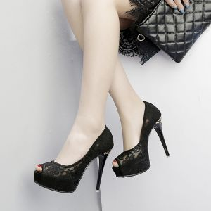 Chic / Beautiful Black Wedding Shoes 2018 Lace 12 cm Stiletto Heels Platform Open / Peep Toe Wedding High Heels