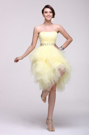 2015 Luxurious Ball Gown Satin Tulle Short Cocktail Dress