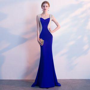 Luxe Bleu Roi Robe De Soirée 2018 Trompette / Sirène Faux Diamant Encolure Carrée Dos Nu Sans Manches Train De Balayage Robe De Ceremonie