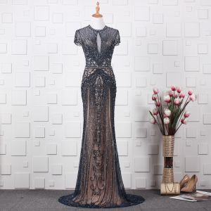 Luxury / Gorgeous Navy Blue Handmade  Beading Evening Dresses  2019 Trumpet / Mermaid Scoop Neck Rhinestone Crystal Short Sleeve Sweep Train Formal Dresses