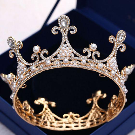 Vintage / Retro Gold Wedding Tiara 2018 Metal Pearl Rhinestone Accessories