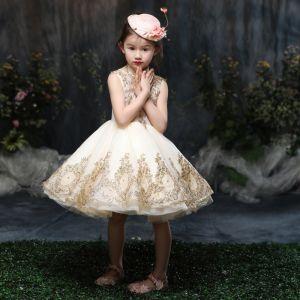 Schöne Kirche Kleider Für Hochzeit 2017 Mädchenkleider Gold A Linie Knielang Stehkragen Ärmellos Applikationen Pailletten Strass