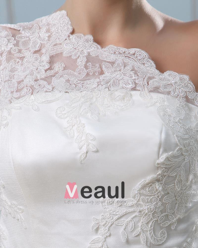 Bowknot Back One Shoulder Satin Lace A Line Wedding Dress