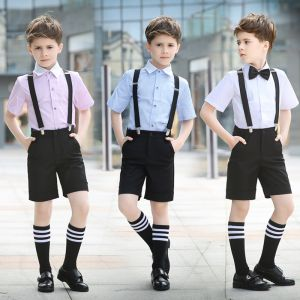 Modest / Simple Short Sleeve Shirt Black Tie Summer Boys Wedding Suits 2018