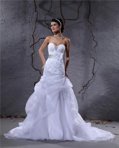 Elegant Satin Yarn Flower Beaded Sweetheart Floor Length Mermaid Wedding Dress