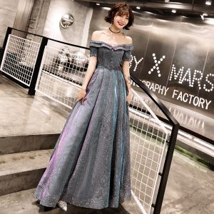 Bling Bling Grey Evening Dresses  2019 A-Line / Princess Off-The-Shoulder Short Sleeve Glitter Polyester Sash Floor-Length / Long Ruffle Backless Formal Dresses