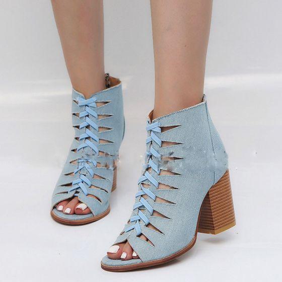 Abordable Bleu Ciel Désinvolte Bottes Femme 2019 8 cm Talons Épais Peep Toes / Bout Ouvert Bottes
