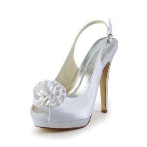 Białe Ślubne Buty Pantofle Stilettos Szpilki Peep Toe Platformy