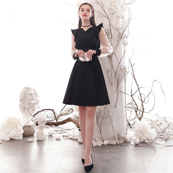 Simple Noire de retour Robe De Graduation 2020 Princesse V-Cou Manches Longues Mi-Longues Robe De Ceremonie