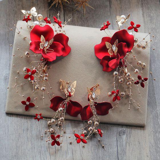 Flower Fairy Red Earrings Headpieces 2019 Metal Handmade  Beading Flower Rhinestone Wedding Prom Accessories