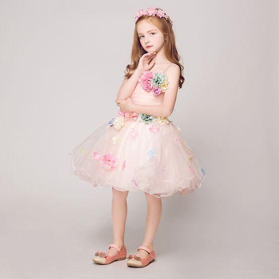 Flower Fairy Artificial Flowers Pearl Pink Flower Girl Dresses 2017 Ball Gown Strapless Sleeveless Backless Appliques Flower Short Ruffle Wedding Party Dresses