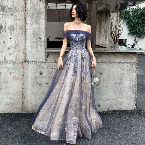 Elegantes Marino Oscuro Oro Vestidos de noche 2020 A-Line / Princess Fuera Del Hombro Manga Corta Glitter Tul Rebordear Largos Ruffle Sin Espalda Vestidos Formales