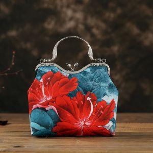 Estilo Chino Vintage Verde Cuadradas Bolsas de embrague 2020 Metal Impresión Flor Poliéster