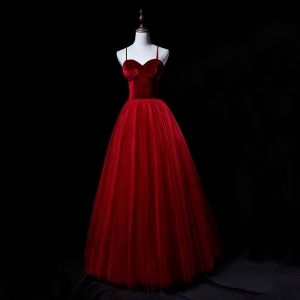 Modern / Fashion Burgundy Suede Prom Dresses 2019 A-Line / Princess Spaghetti Straps Sleeveless Floor-Length / Long Ruffle Backless Formal Dresses