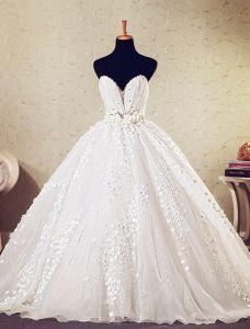 Robe De Bal Sweetheart Profonde Fleurs Appliques Robe De Mariée Avec Cristal