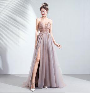 Uroczy Rumieniąc Różowy Sukienki Wieczorowe 2020 Princessa Spaghetti Pasy Frezowanie Rhinestone Cekiny Bez Rękawów Bez Pleców Podział Przodu Długie Sukienki Wizytowe