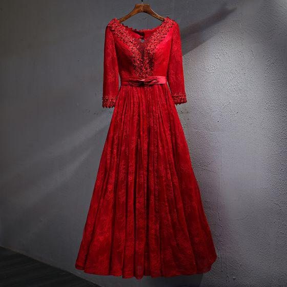 Schöne Rot Abendkleider 2017 A Linie Spitze Blumen Perle Kristall Schleife V-Ausschnitt Rückenfreies Lange Ärmel Knöchellänge Festliche Kleider