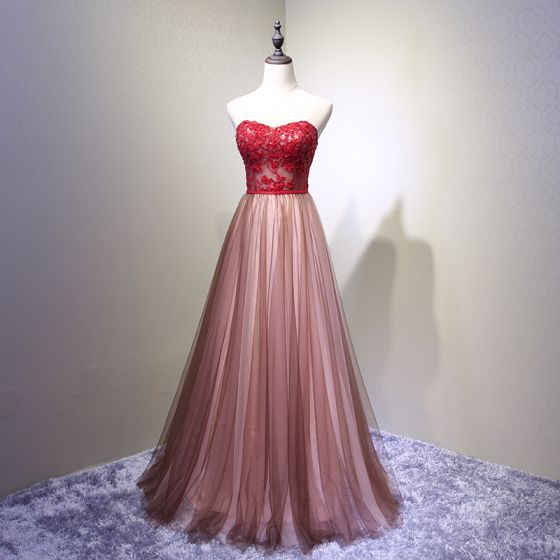 f94de06b25ed Chic / Beautiful Burgundy Prom Dresses 2018 A-Line / Princess Lace  Appliques Crystal Sequins Sweetheart Backless Sleeveless ...
