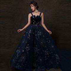 Starry Sky Navy Blue Prom Dresses 2019 A-Line / Princess Shoulders Sleeveless Glitter Tulle Floor-Length / Long Ruffle Backless Formal Dresses