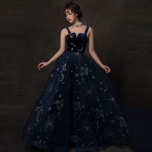 Starry Sky Navy Blue Prom Dresses 2019 A-Line / Princess Shoulders Sleeveless Glitter Tulle Floor-Length / Long Ruffle Backless Formal Dresses