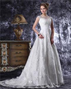 Würdevolle Rüsche-fußboden-länge Juwel Spitze A Linie Hochzeitskleid
