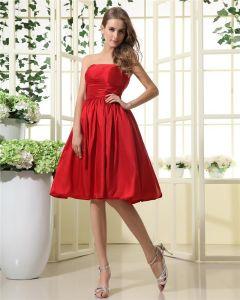 Elegante Taft Strapless Knie Lengte Bruidsmeisjekleding
