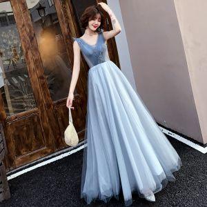 Elegante Blau Abendkleider 2019 A Linie V-Ausschnitt Perlenstickerei Kristall Ärmellos Rückenfreies Lange Festliche Kleider