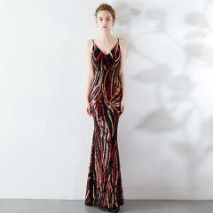 Charming Burgundy Evening Dresses  2019 Trumpet / Mermaid Spaghetti Straps Sequins Sleeveless Backless Floor-Length / Long Formal Dresses