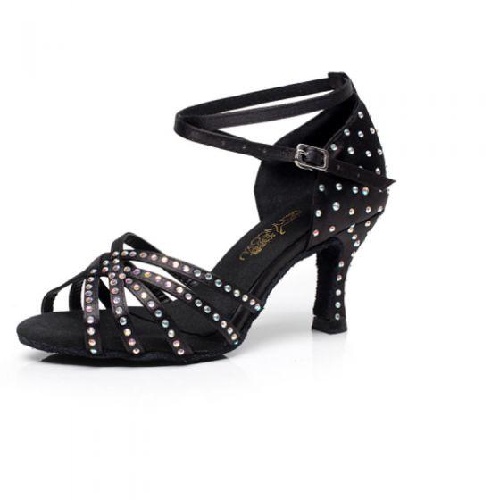 Stunning Black Latin Dance Shoes 2020 Velour Beading Rhinestone X-Strap Dancing Prom Womens Shoes
