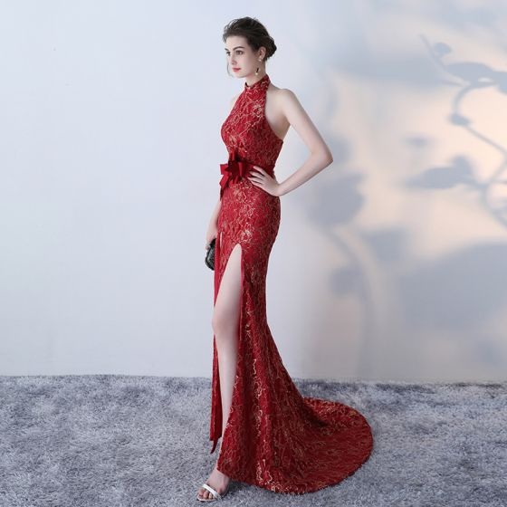 Amazing / Unique Red Evening Dresses  2017 Trumpet / Mermaid High Neck Lace Butterfly Appliques Backless Evening Party Formal Dresses