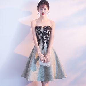 Sexy Vert Cendré Robe De Fete 2018 Princesse En Dentelle Appliques Amoureux Dos Nu Sans Manches Mi-Longues Robe De Ceremonie