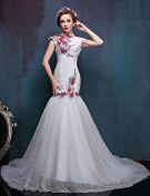 2016 High Neck Applique Colorful Flowers Improved Cheongsam Mermaid Wedding Dress
