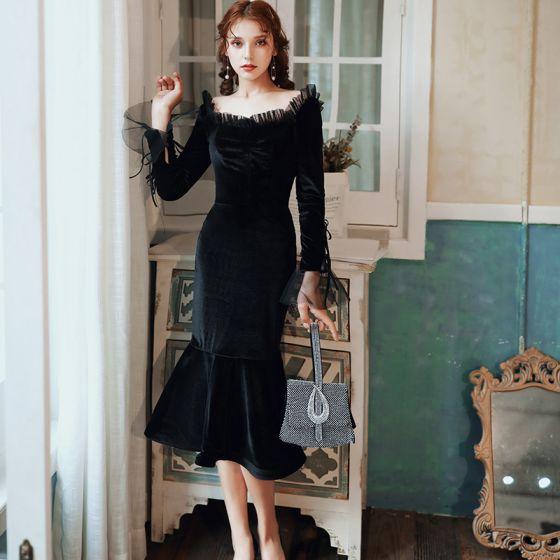 Vintage Czarne Welur Zima Strona Sukienka 2020 Syrena / Rozkloszowane Kwadratowy Dekolt Długie Rękawy Długość Herbaty Wzburzyć Bez Pleców Sukienki Wizytowe