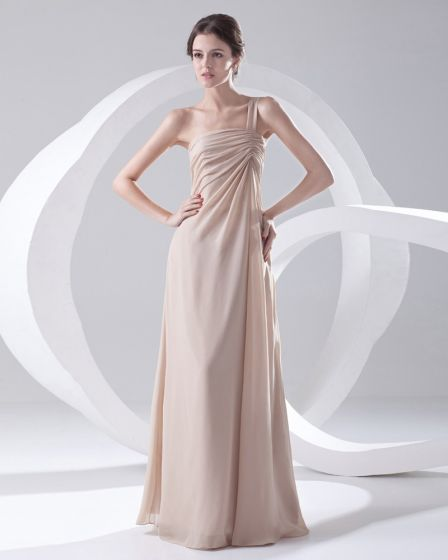 Fashion Chiffon One Shoulder Sleeveless Floor Length Pleated Bridesmaid Dress