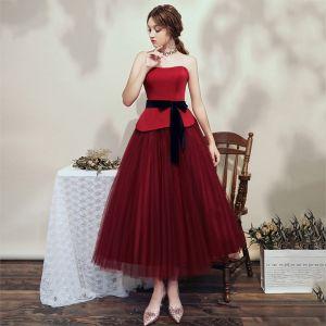 Fashion Burgundy Dancing Prom Dresses 2020 A-Line / Princess Sweetheart Sleeveless Sash Ankle Length Ruffle Backless Formal Dresses