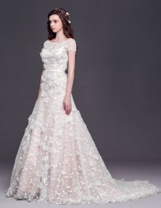 2015 A-line Square Neckline Organza Lace Handmade flower Cathedral Train Wedding Dress