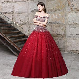 Błyszczące Burgund Sukienki Na Bal 2018 Suknia Balowa Frezowanie Rhinestone Cekiny Przy Ramieniu Bez Pleców Bez Rękawów Długie Sukienki Wizytowe
