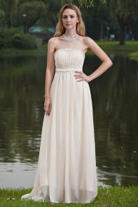 2015 Simple A-line Strapless Champagne long Evening Dresses