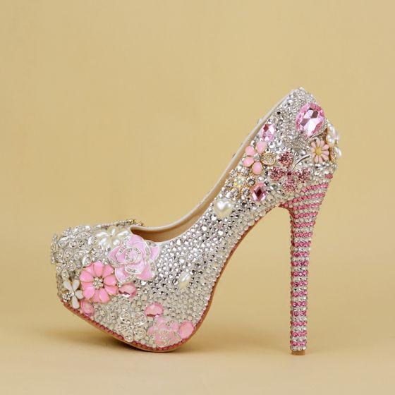 Sparkly Silver Wedding Shoes 2019 Rhinestone Pearl 14 cm Stiletto Heels Round Toe Wedding Pumps