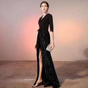 Classy Black Evening Dresses  2020 A-Line / Princess Bow Satin Sequins V-Neck 1/2 Sleeves Floor-Length / Long Formal Dresses