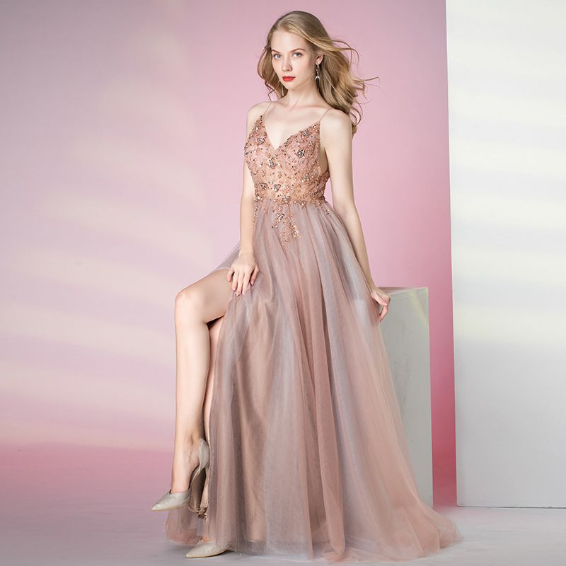 Charming Blushing Pink Prom Dresses 2020 A-Line / Princess Spaghetti Straps Beading Crystal Pearl Sequins Sleeveless Backless Split Front Floor-Length / Long Formal Dresses