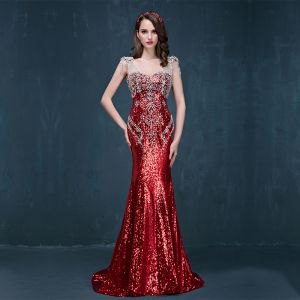 Sparkly Red Sequins Evening Dresses  2017 Trumpet / Mermaid Sweep Train V-Neck Sleeveless Backless Rhinestone Pierced Formal Dresses