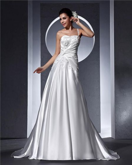 One Shoulder Beading Applique Floor Length Satin Woman A Line Wedding Dress