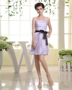 Strapless Neckline Thigh Length Sashes Organza A-Line Woman Little Black Party Dress
