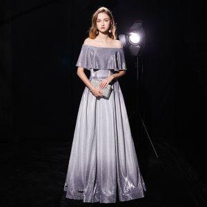 Ciel étoilé Gris Robe De Soirée 2019 Princesse De l'épaule Manches Courtes Ceinture Longue Volants Dos Nu Glitter Polyester Robe De Ceremonie