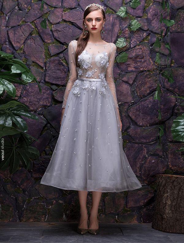 2016 Mode Vierkante Hals Applique Kant Bloemen Zilver Feestjurk Met Pailletten