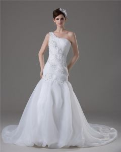 Beading Ruffles One Shoulder Floor Length Yarn Mermaid Wedding Dress