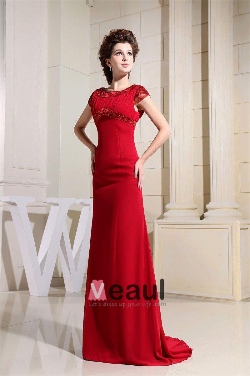Sabrina Neckline Floor Length Beading Chiffon Empire Mother Of The Bride Dress