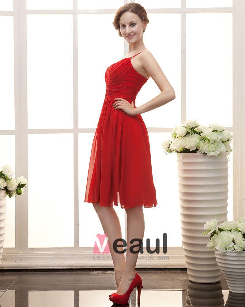 Stylish Ruffle Sweetheart Knee Length Satin Chiffon Bridesmaid Dress